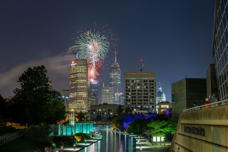 Fireworks over Indianapolis Skyline