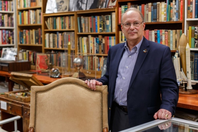Jonathan R. Eller, director of the Center for Ray Bradbury Studies, stands in a re-creation of Ray Bradbury's office. The space is located in Cavanaugh Hall on the IUPUI campus. Liz Kaye, IU Communications