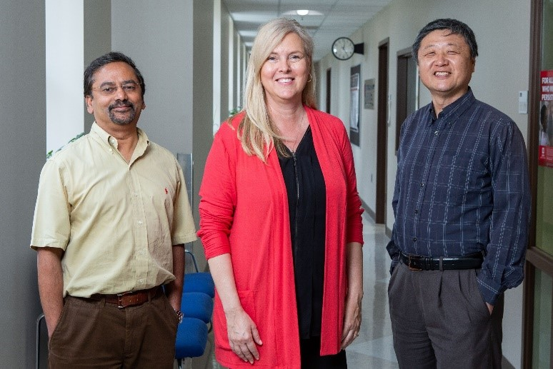The founders of Health Smart Technologies, from left, are Sohel Anwar,  Terry Loghmani and Stanley Chien. Photo by Liz Kaye, IU Communications