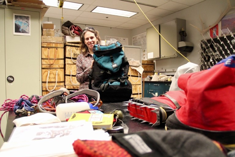 Kathy Licht can pack a lot of gear into her field backpack, which she obtained while in graduate school. Photo by Tim Brouk, IU Communications
