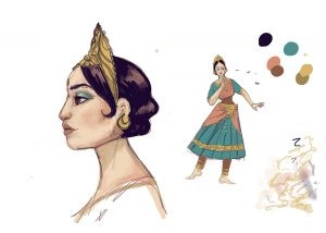 This is an image of Character concept sketches for the film. The doll dances in a style inspired by Bharatanatyam and Hindustani music