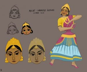 This is an image of Early character sketches for the film Laya, which tells the story of a terracotta Thanjavur doll brought to life